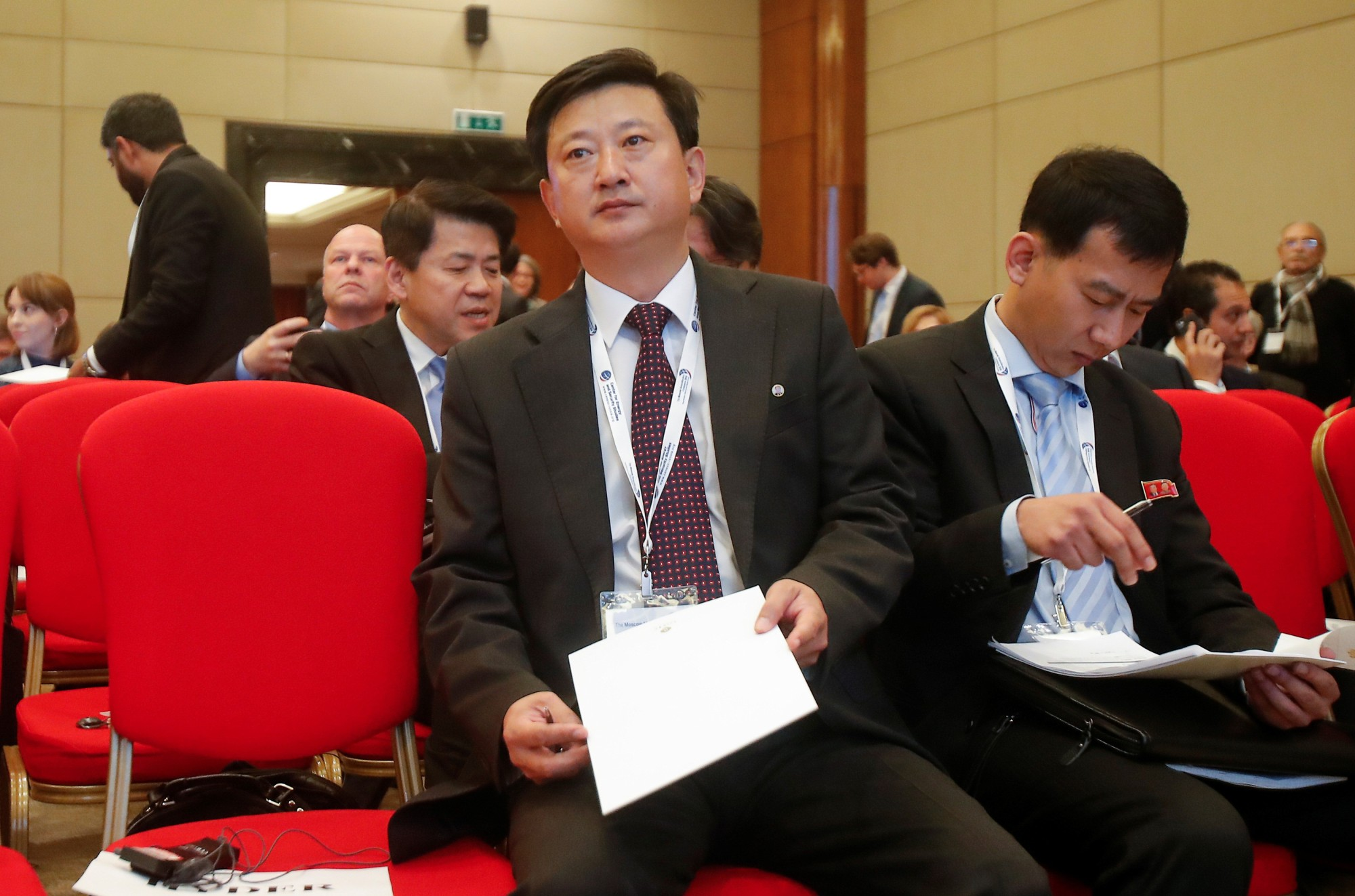 North Korean diplomat Jo Chol Su attends the Moscow Nonproliferation Conference in the Russian capital on Friday. | REUTERS