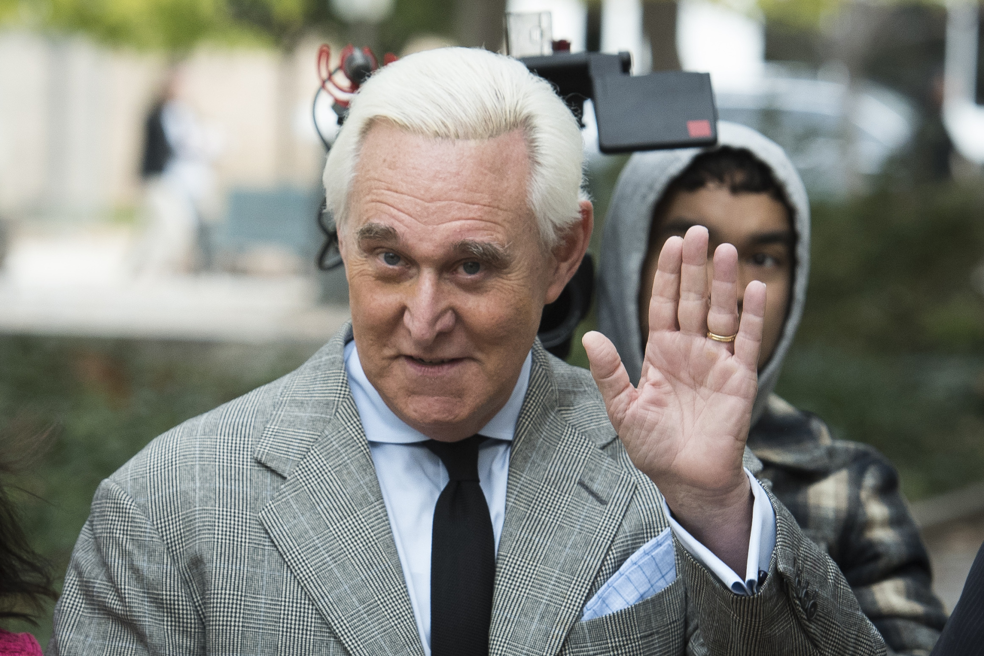 Roger Stone arrives at Federal Court for his federal trial in Washington Thursday.   AP