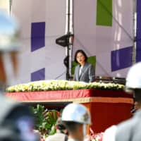 Taiwan President Tsai Ing-wen speaks during National Day celebrations in Taipei on Oct. 10. | BLOOMBERG