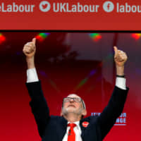 Labour leader Jeremy Corbyn launches the party's election manifesto in Birmingham, England, on Thursday. | REUTERS