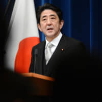 Returning Prime Minister Shinzo Abe holds his inaugural news conference on Dec. 26, 2012, at the Prime Minister's Office in Tokyo. | AFP-JIJI