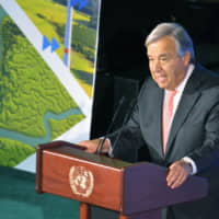 United Nations Secretary-General Antonio Guterres gives a closing address at the U.N. Climate Action Summit in New York on Sept. 23. | KYODO