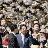 Guests at the state-funded cherry blossom-viewing event held at Shinjuku Gyoen National Garden in Tokyo in April take photos of Prime Minister Shinzo Abe. | KYODO