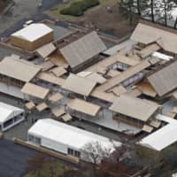 The Daijokyu Halls, specially constructed on Imperial Palace grounds for the centuries-old Shinto thanksgiving ceremony known as Daijosai, on Wednesday | KYODO
