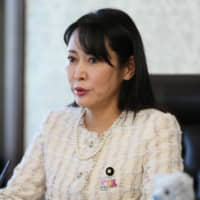 Justice Minister Masako Mori speaks during a group interview Thursday.   POOL