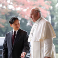 Pope Francis meets Emperor Naruhito ahead of a private visit at the Imperial Palace in Tokyo on Monday.   REUTERS