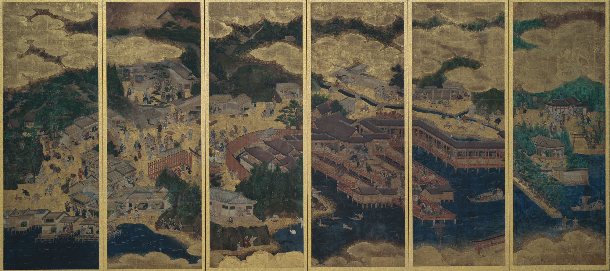 'Itsukushima' (left screen of Yoshino Itsukushima) from a pair of six fold screens (17th century) | UMI-MORI ART MUSEUM