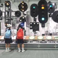 Children learn about train signals train signals at a display in the Kyoto Railway Museum. | JASON JENKINS