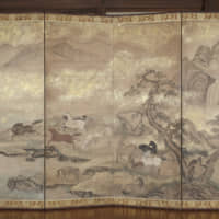 All the pretty little ponies: One can almost hear the whinnying from the herd of wild horses depicted in gold dust and colored pigment on this beautifully preserved pair of early to mid-Edo Period six-panel screens. Pleasure is to be found in the power of the overall composition when viewed from a distance, as well as in the fineness of the detail from up close. From any vantage point, the passion of the artist is palpable. The technique of sprinkling powdered gold leaf over the paint adds a three-dimensional sparkle to the dynamic movements of the horses. The screens are believed to have once belonged to a samurai family.