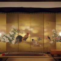 Shifting shades: 'Just as with architecture,' Takishita says, 'light determines 30 percent of a byōbu's appearance.' The atmosphere of a screen painting can shift dramatically depending on its ambient light.
