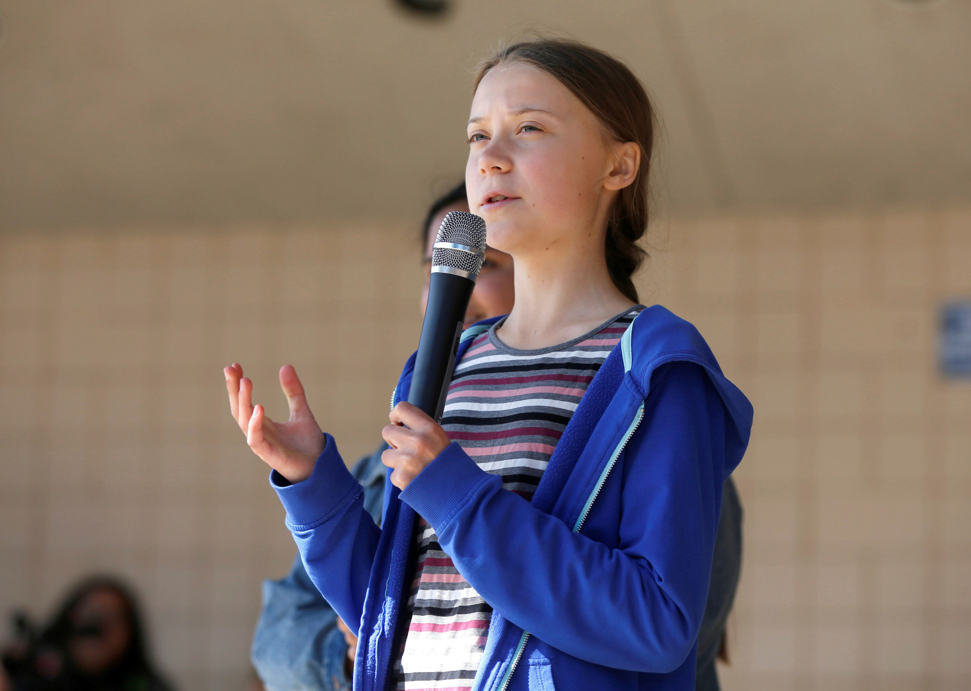 Center stage: Youth activist Greta Thunberg speaks at a climate change rally in Rapid City, South Dakota, in October. | REUTERS