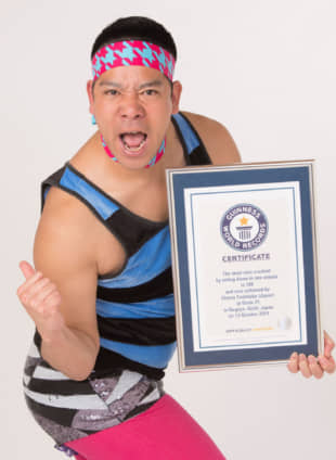 Comedian Cherry Yoshitake holds more world records than any other Japanese person. | COURTESY OF WAHAHA HOMPO