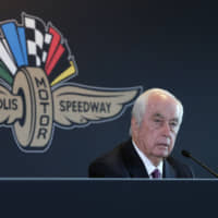 Penske Entertainment Corp. chairman Rodger Penske responds to a question about the sale of the Indianapolis Motor Speedway, IndyCar and related business from Hulman & Company to Penske Entertainment Corp. at a news conference in Indianapolis on Monday. | AP