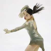 Rika Kihira trains for the NHK Trophy on Thursday in Sapporo. | KYODO