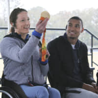 American wheelchair racer Tatyana McFadden speaks at an event in Tokyo's Setagaya Ward last week. | KYODO