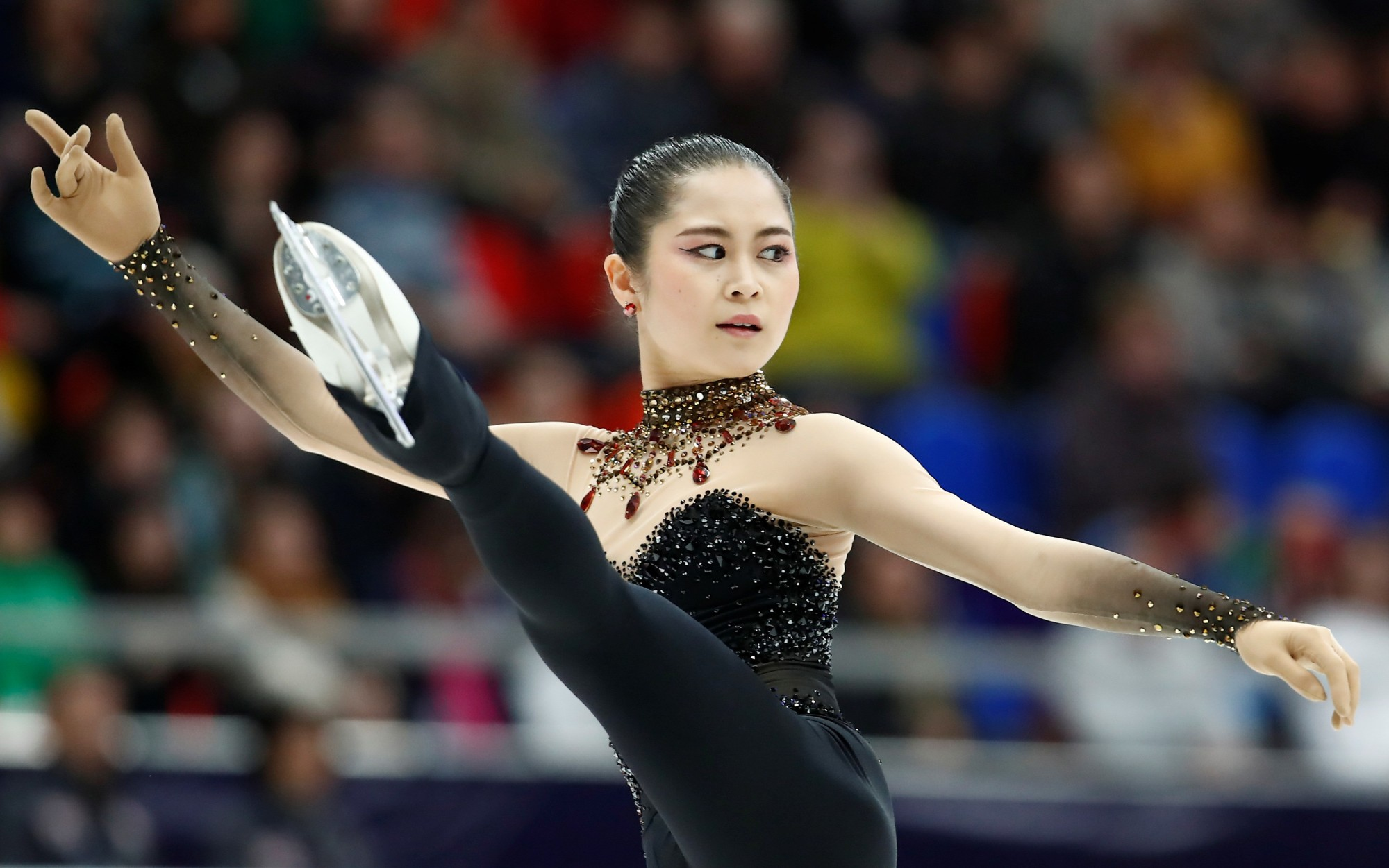 Satoko Miyahara performs her short program on Friday during the Cup of Russia in Moscow. | REUTERS