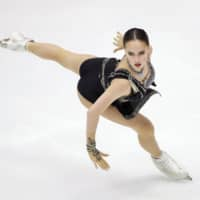 Alina Zagitova competes in the women's free skate on Saturday at the NHK Trophy in Sapporo. | KYODO