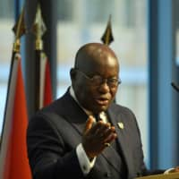 Ghana President Nana Akufo-Addo addresses participants of the 'G20 Investment Summit — German Business and the CwA Countries 2019' on the sidelines of a Compact with Africa (CwA) in Berlin in November. | JOHN MACDOUGALL / POOL / VIA REUTERS