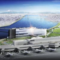 A computer rendering shows Haneda Airport Garden, a planned large-scale complex comprising hotels and shopping areas connected to Haneda Airport in Tokyo. | SUMITOMO REALTY AND DEVELOPMENT CO. / VIA KYODO