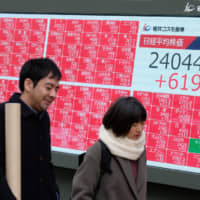 The 225-issue Nikkei average surged 2.55 percent Friday to close at 24,023.10, hitting its highest levels since October last year. | AFP-JIJI