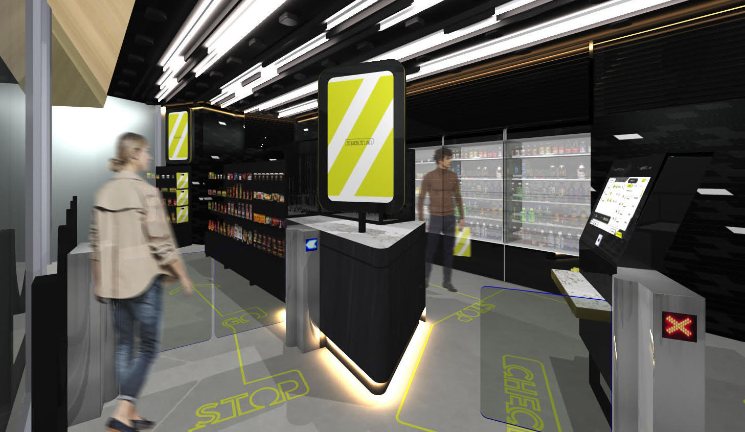 A computer-generated image shows an unstaffed convenience store to be set up at Takanawa Gateway Station, which is slated to open next April in Tokyo | JR EAST / VIA KYODO