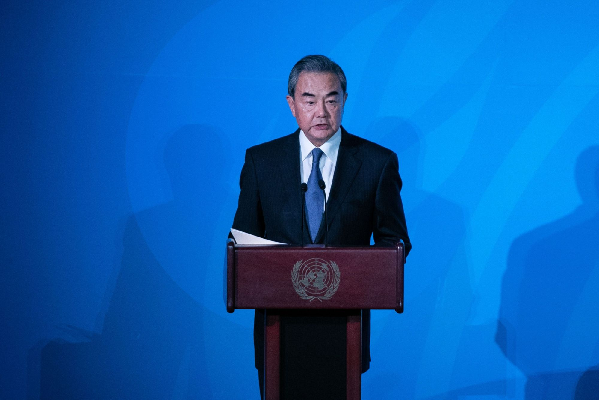 Wang Yi, China's foreign minister, speaks during the United Nations Climate Action Summit in New York in September. | BLOOMBERG