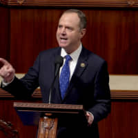 House Intelligence Committee Chairman Rep. Adam Schiff speaks ahead of a vote on two articles of impeachment against U.S. President Donald Trump on Capitol Hill in Washington in a still image from video Wednesday. | HOUSE TV / VIA REUTERS