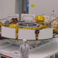 The Mars 2020 Spacecraft cruise stage is seen in the spacecraft assembly area clean room Friday during a media tour at NASA's Jet Propulsion Laboratory in Pasadena, California. | AFP-JIJI