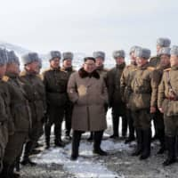 North Korean leader Kim Jong Un visits battle sites in the area of Mount Paektu in this undated picture released Wednesday. | KCNA / VIA REUTERS