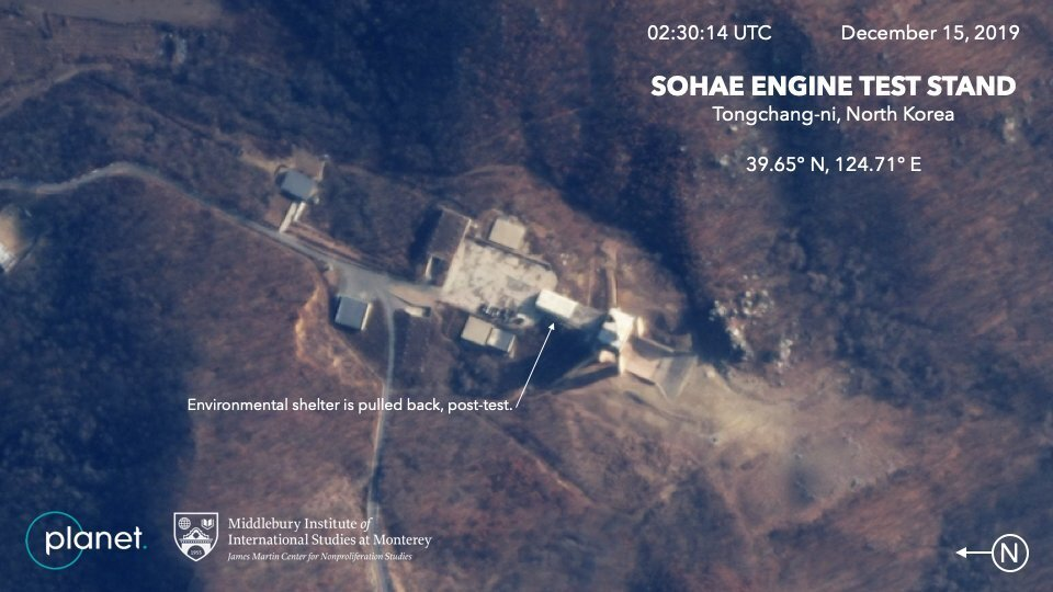 This Dec. 15 satellite image from Planet Lab Inc., which has been analyzed by experts at the Middlebury Institute of International Studies, shows the Sohae Engine Test Stand in Tongchang-ri, North Korea. The new satellite image of the North Korean missile-related site shows the construction of a new building this month. | AP