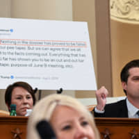 House Judiciary Committee Republican member Rep. Matt Gaetz questions Democratic staff attorney Daniel Goldman (not shown) about one of his tweets about the Steele dossier in front of the tweet on an easel behind him as Rep. Martha Roby looks on during a House Judiciary Committee hearing on the impeachment inquiry into U.S. President Donald Trump on Capitol Hill in Washington Monday. | REUTERS