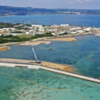 Construction work is underway in the Henoko coastal district in the Okinawa city of Nago where the replacement facility for the U.S. Marine Corps' Futenma Air Station will be located. | KYODO