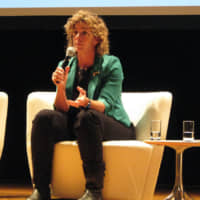 Marnie McBean, one of Canada's most famous Olympians and athletic mentors, speaks during a seminar on sexual minorities and sports, at the Canadian Embassy in Tokyo on Nov. 13. | KYODO