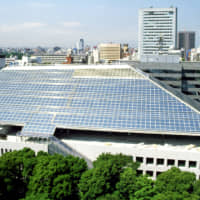 The extraordinary shape of the glassed-in roof of the Canadian Embassy in Tokyo was designed and constructed by Raymond Moriyama's team to meet sunshade regulations that mandate the building, among other requirements, does not cast a shadow on the Akasaka Imperial grounds across the street. | COURTESY OF THE CANADIAN EMBASSY / VIA KYODO