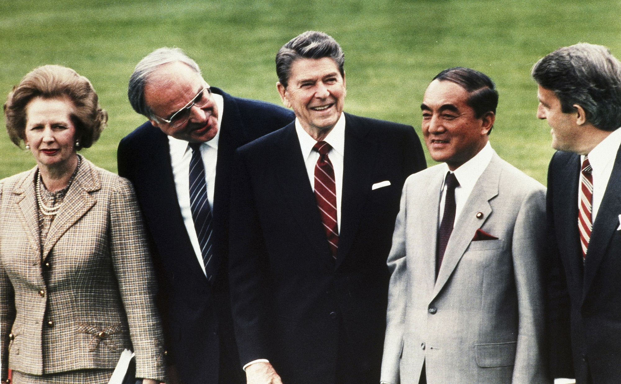 Left to right, British Prime Minister Margaret Thatcher, West German Chancellor Helmut Kohl, U.S. President Ronald Reagan, Japanese Prime Minister Yasuhiro Nakasone and Canadian Prime Minister Brian Mulroney pose during the World Economic Summit in Bonn, Germany, on May 3, 1985. | AP
