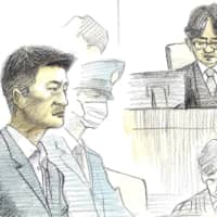 A court illustration shows Mitsuru Nakata listening as he is given the death penalty for choking his wife and two children to death at their home in Fukuoka Prefecture in June 2017. | KYODO