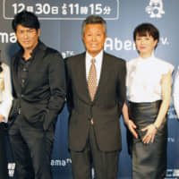 Actor and TV personality Tatsuo Umemiya (center), pictured in December 2017 in Tokyo, died Thursday at the age of 81. | KYODO