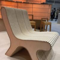 A chair made of Wood Maker, an innovative corrugated recycled wood material, on show at the Interior Lifestyle Living show in November. | MIO YAMADA