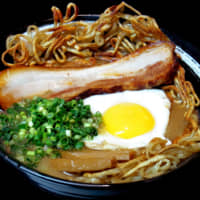 Yakimen Tsurugi grills its noodles on an iron plate and serves them in a thick, rich soup made from pork bone and potato.