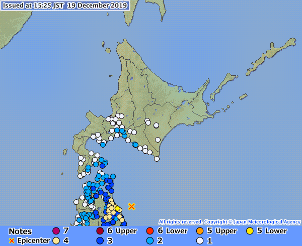 The epicenter of the earthquake that occurred on Dec. 19 at 3:21 p.m. is located in Aomori Prefecture   JAPAN METEOROLOGICAL AGENCY