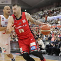 Evessa center Josh Harrellson finished with 13 points and 20 rebounds on Saturday against the Jets in Osaka.   B. LEAGUE