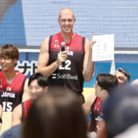 Nick Fazekas, seen at an event announcing the Akatsuki Five squad for the 2019 FIBA World Cup, believes he deserves to represent Japan at the Tokyo Olympics. | KAZ NAGATSUKA
