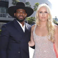 P.K. Subban (left) and Lindsey Vonn are seen arriving at the ESPY Awards at Microsoft Theater in Los Angeles on July 10. The couple got engaged on Christmas Day. | AP