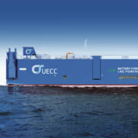 Artist's impression of UECC's new Battery Hybrid LNG PCTC. The first in a series of three to be delivered to UECC in the middle of 2021. | © UECC