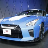 Nissan Motor Co.'s special version GT-R is seen Friday at the Tokyo Auto Salon. The event is being held at Makuhari Messe convention center in Chiba Prefecture this weekend. | KYODO