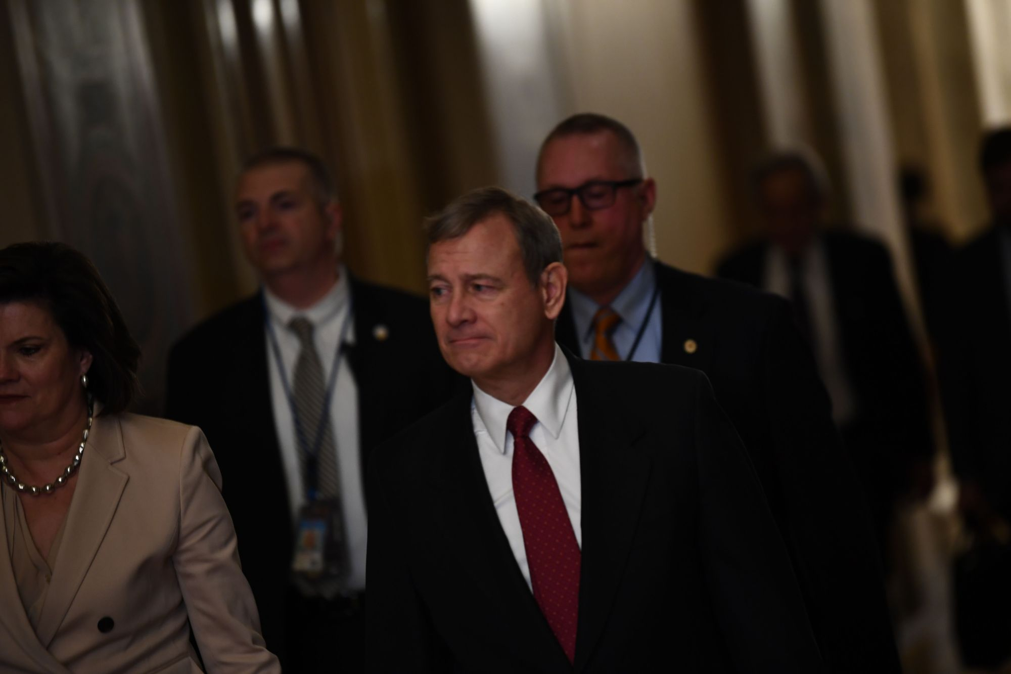 U.S. Supreme Court Chief Justice John Roberts arrives during the impeachment trial of U.S. President Donald Trump on Capitol Hill Wednesday in Washington. | AFP-JIJI