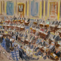 An artist sketch depicts White House counsel Pat Cipollone speaking in the Senate during the impeachment trial against President Donald Trump on Tuesday. | AP