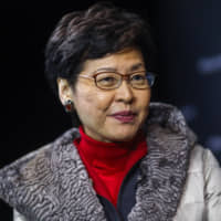 Hong Kong Chief Executive Carrie Lam in Davos, Switzerland, on Tuesday | BLOOMBERG