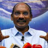 Chairman of the Indian Space Research Organization (ISRO) Kailasavadivoo Sivan gestures as he announces ISRO's plans for 2020, including the progress in the Chandrayaan 3 moon mission and Gaganyaan mission for putting an Indian astronaut into space, during a press conference held at the ISRO headquarters in Bangalore, India, on Wednesday. | AFP-JIJI