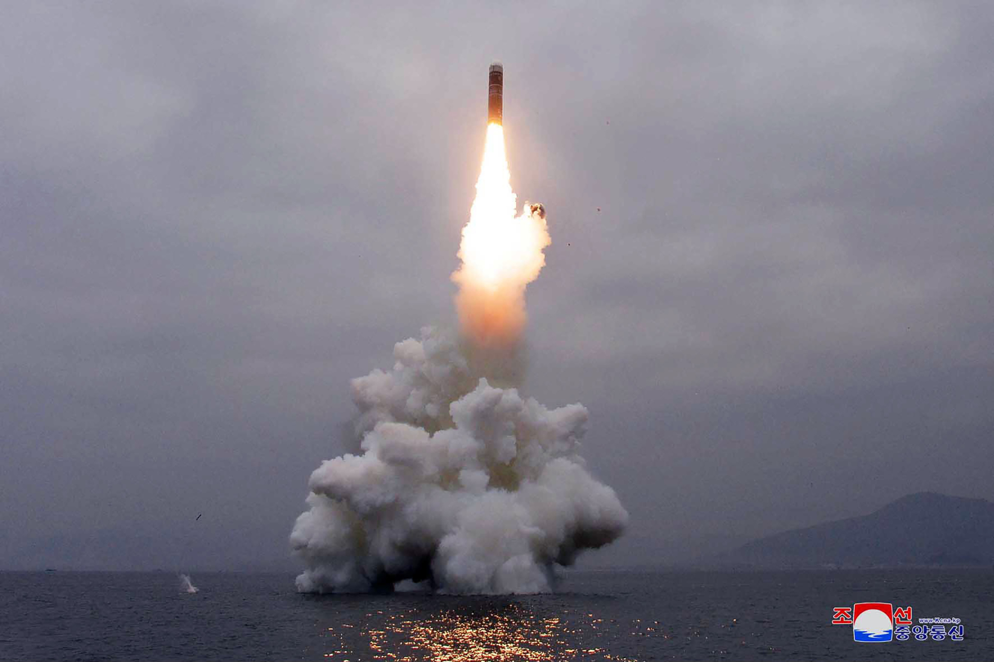 A North Korean missile is launched from underwater off the eastern coastal town of Wonsan on Oct. 2. | KOREAN CENTRAL NEWS AGENCY / VIA KOREA NEWS SERVICE / VIA AP